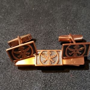 Copper Aztec Cufflinks And Tie Clasp